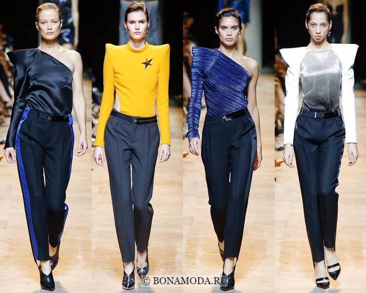 Модные женские брюки осень-зима 2017-2018: Mugler – зауженные со стрелками и лампасами