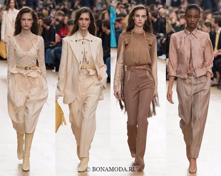 Модные женские брюки осень-зима 2017-2018: Nina Ricci – нейтральные оттенки бежевого