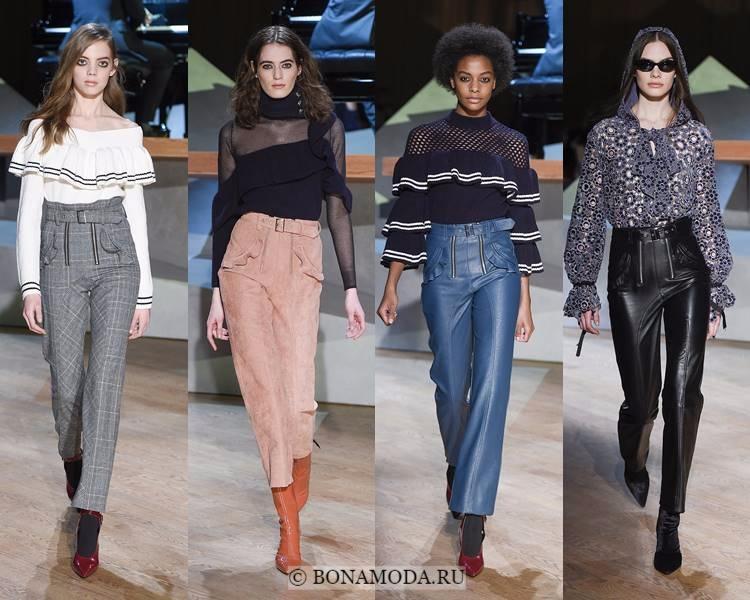 Модные женские брюки осень-зима 2017-2018: Self-Portrait – укороченные с завышенной талией