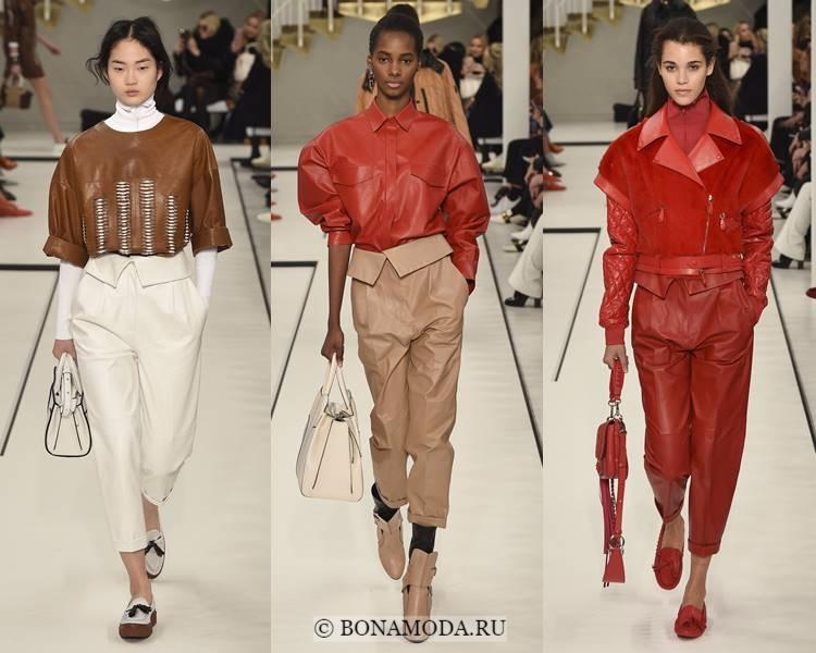 Модные женские брюки осень-зима 2017-2018: Tod's – зауженные укороченные кожаные
