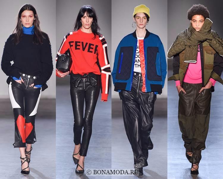 Модные женские брюки осень-зима 2017-2018: Zadig&Voltaire – черные и хаки кожаные