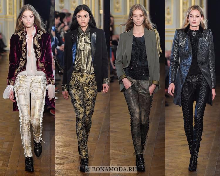 Модные женские брюки осень-зима 2017-2018: Redemption – кожа, скинни, золото и шнуровка