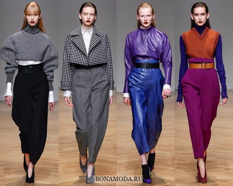Модные женские брюки осень-зима 2017-2018: Aquilano.Rimondi – широкие зауженные с завышенной талией