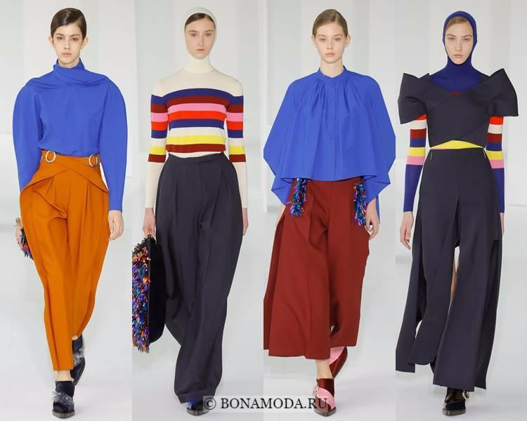 Модные женские брюки осень-зима 2017-2018: Delpozo – широкие однотонные