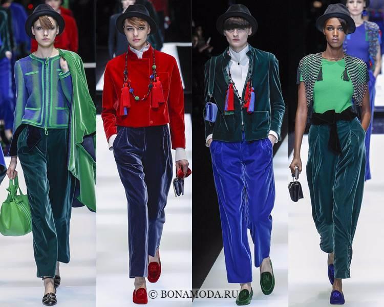 Модные женские брюки осень-зима 2017-2018: Giorgio Armani – укороченные бархатные