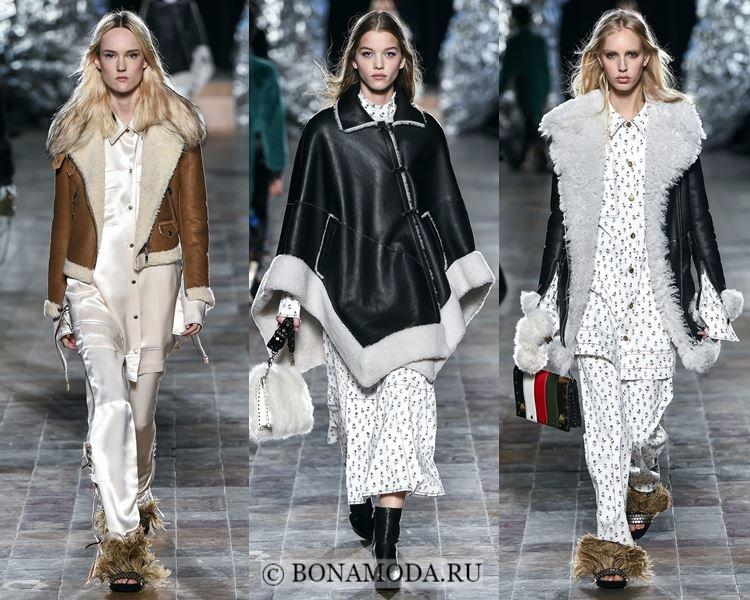 Модные женские дублёнки осень-зима 2017-2018: Sonia Rykiel пончо, черные и бежевая