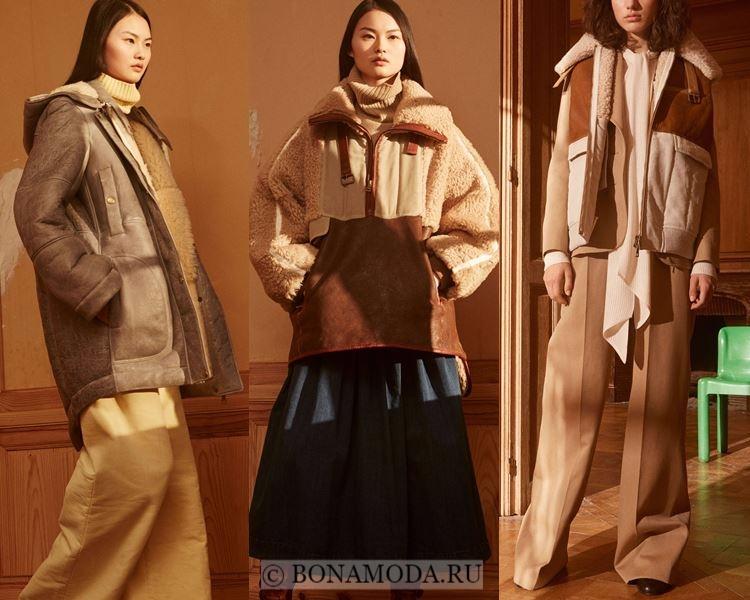Модные женские дублёнки осень-зима 2017-2018: Chloé бежевые до середины бедра
