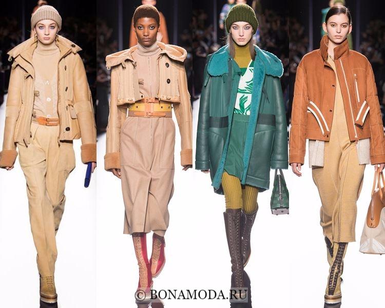 Модные женские дублёнки осень-зима 2017-2018: Hermès бежевые и зеленые