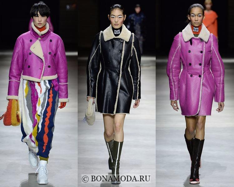 Модные женские дублёнки осень-зима 2017-2018: Kenzo черные и фуксия