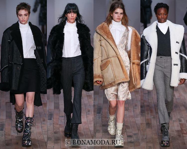 Модные женские дублёнки осень-зима 2017-2018: R13 классические черные