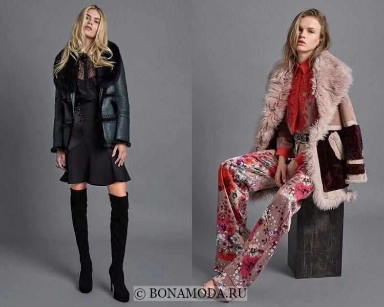 Модные женские дублёнки осень-зима 2017-2018: Roberto Cavalli с меховым воротником