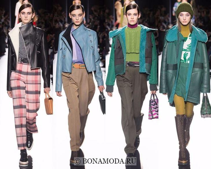 Модные женские куртки осень-зима 2017-2018: голубые и зеленые кожаные Hermes