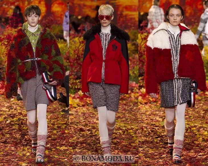 Модные женские куртки осень-зима 2017-2018: красные меховые Moncler Gamme Rouge