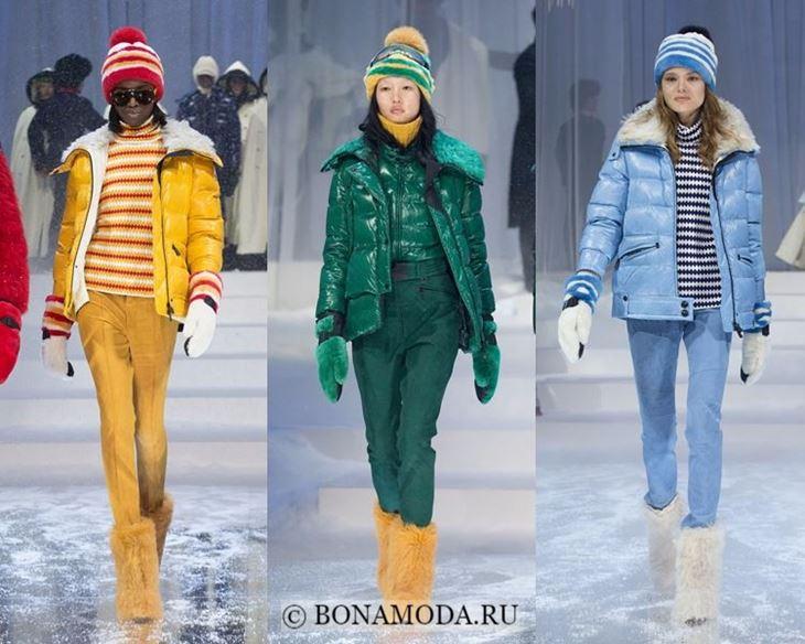 Модные женские куртки осень-зима 2017-2018: желтый, зеленый и голубой пуховик Moncler Greboble