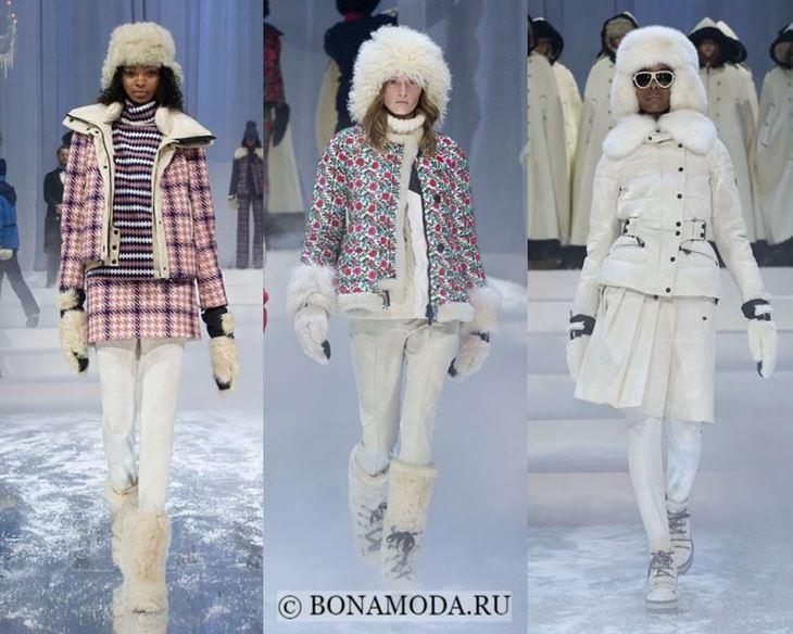 Модные женские куртки осень-зима 2017-2018: белые и розовые пуховики Moncler Grenoble