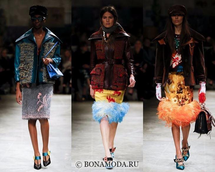 Модные женские куртки осень-зима 2017-2018: зимние Prada с накладными карманами