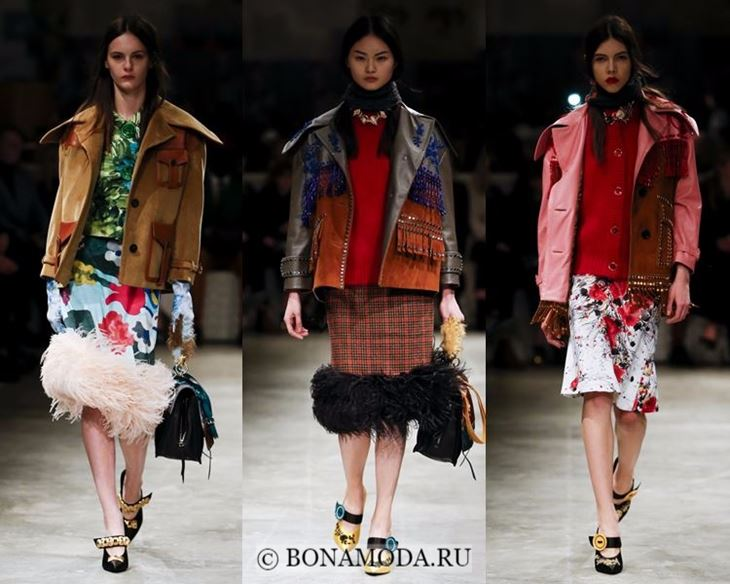Модные женские куртки осень-зима 2017-2018: ковбойский стиль с бахромой Prada