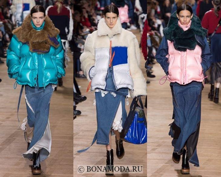 Модные женские куртки осень-зима 2017-2018: пуховики с мехом Sacai