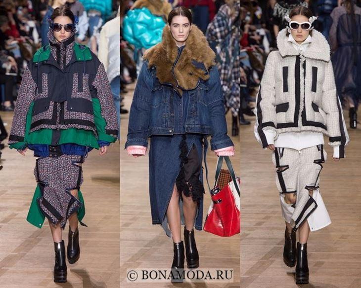 Модные женские куртки осень-зима 2017-2018: зимние с мехом Sacai