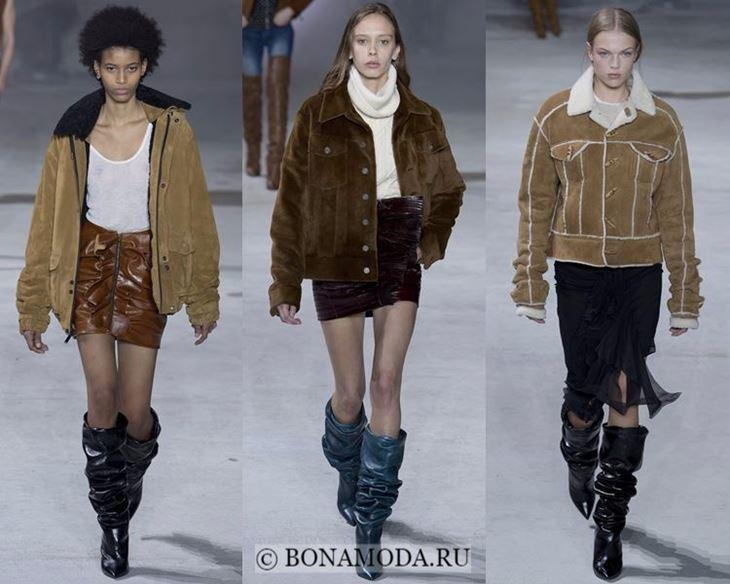 Модные женские куртки осень-зима 2017-2018: бежевые замшевые Saint Laurent