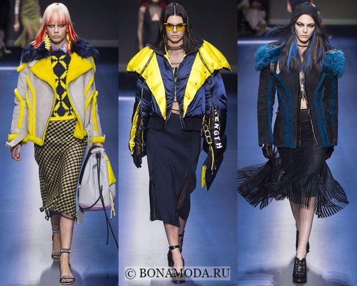 Модные женские куртки осень-зима 2017-2018: дубленки и пуховик Versace