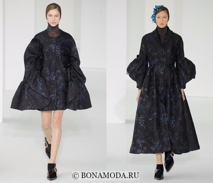 Модные женские пальто осень-зима 2017-2018: приталенные черные цветочные Delpozo