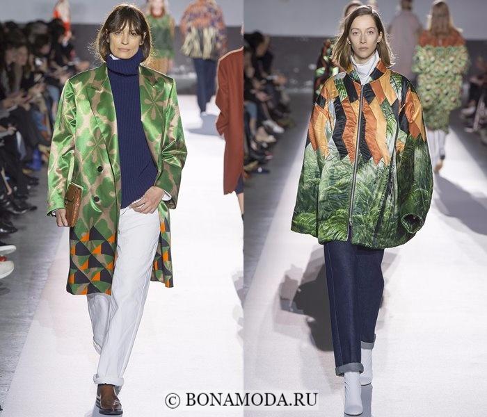 Модные женские пальто осень-зима 2017-2018: зеленые пальто одеяла Dries Van Noten