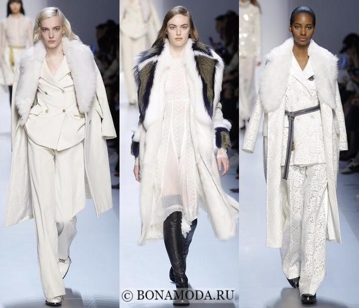 Модные женские пальто осень-зима 2017-2018: белые с меховым воротником Ermanno Scervino