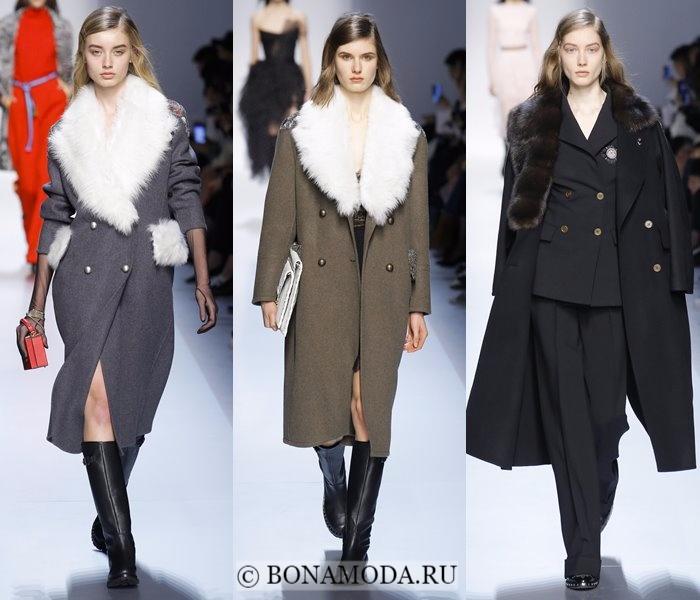 Модные женские пальто осень-зима 2017-2018: серые, черные и хаки с меховым воротником Ermanno Scervino
