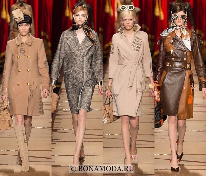 Модные женские пальто осень-зима 2017-2018: бежевые пальто Moschino