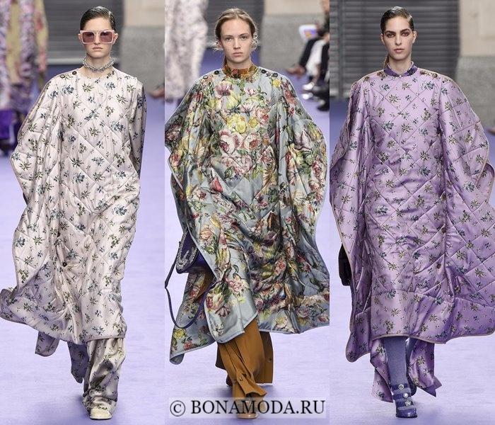 Модные женские пальто осень-зима 2017-2018: цветочные кейпы пончо Mulberry