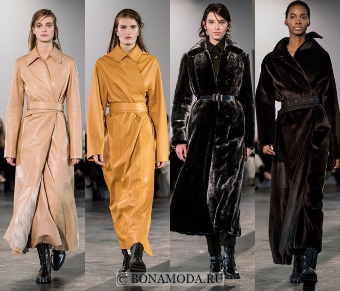 Модные женские пальто осень-зима 2017-2018: бежевые кожаные и коричневые меховые