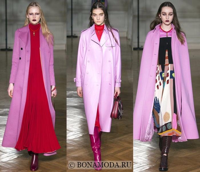 Модные женские пальто осень-зима 2017-2018: сиреневые Valentino