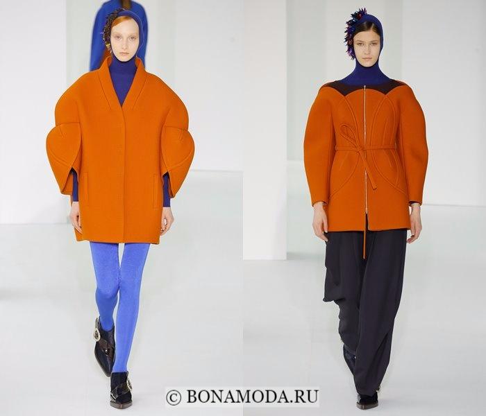 Модные женские пальто осень-зима 2017-2018: оранжевые короткие Delpozo