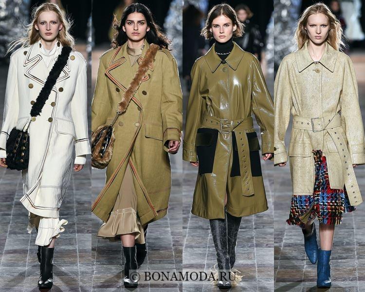 Модные женские плащи осень-зима 2017-2018: Sonia Rykiel милитари стиль в оттенках хаки