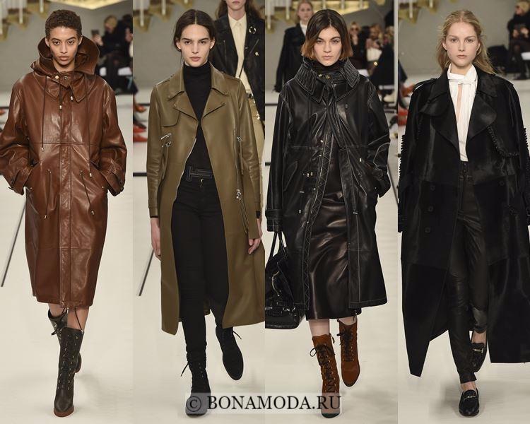 Модные женские плащи осень-зима 2017-2018: Tod's - кожаные черные, коричневые и хаки миди