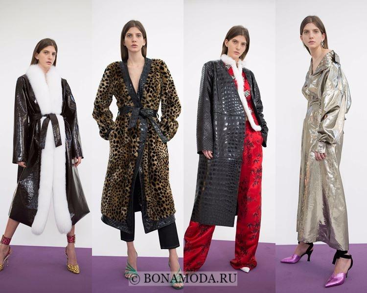 Модные женские плащи осень-зима 2017-2018: Attico леопардовый, крокодиловый, серебристый