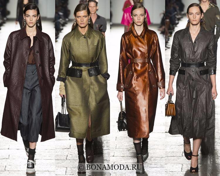 Модные женские плащи осень-зима 2017-2018: Bottega Veneta кожаные с поясом