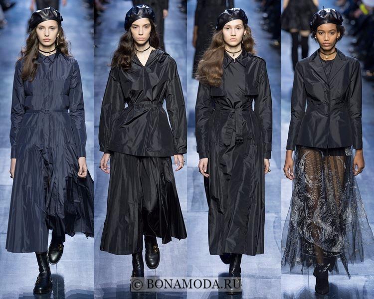 Модные женские плащи осень-зима 2017-2018: Christian Dior черные болоневые