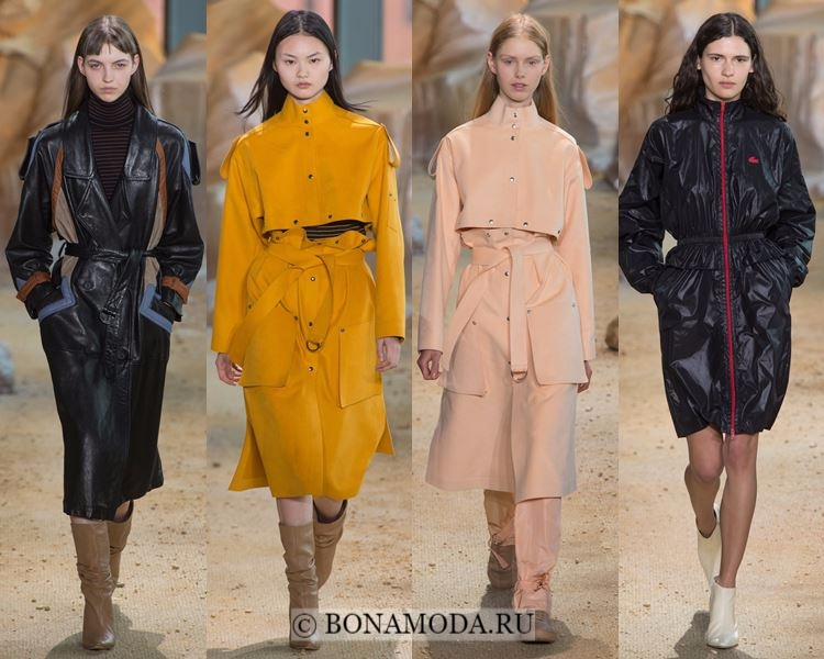 Модные женские плащи осень-зима 2017-2018: Lacoste кожаные и замшевые