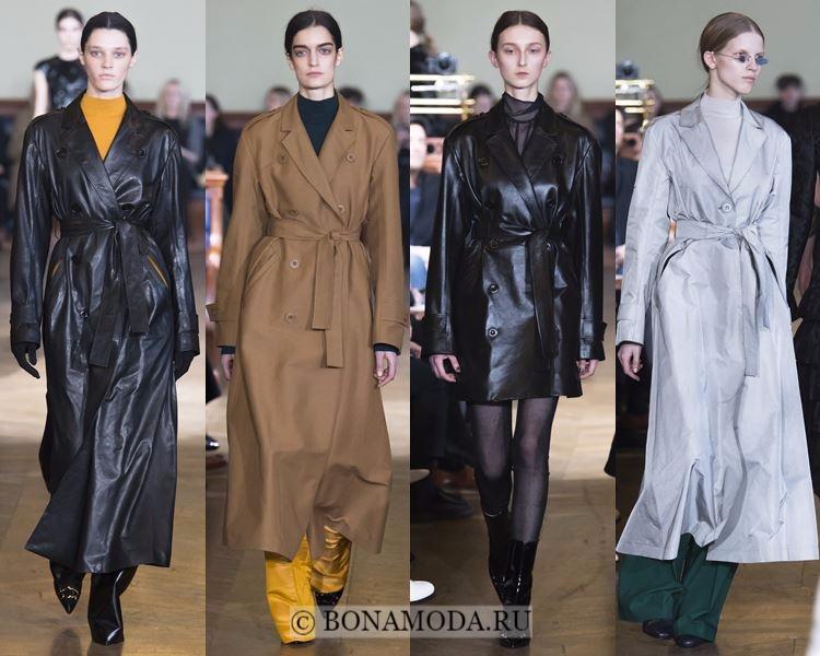 Модные женские плащи осень-зима 2017-2018: Olivier Theyskens длинные черные, серые, коричневые