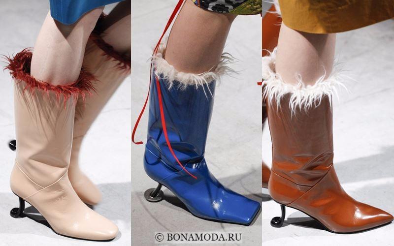 Модные женские сапоги осень-зима 2017-2018: лаковая кожа и металлический каблук