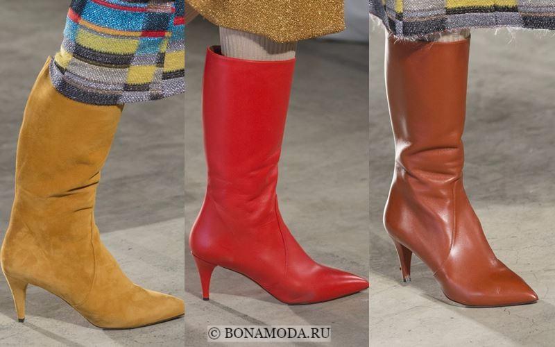 Модные женские сапоги осень-зима 2017-2018: кожаные и замшевые на тонком каблуке