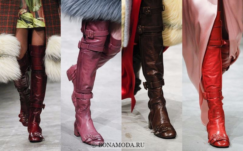 Модные женские сапоги осень-зима 2017-2018: ботфорты с ремешками