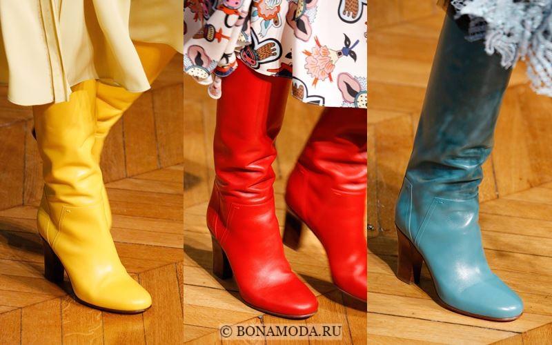 Модные женские сапоги осень-зима 2017-2018: кожаные желтые, красные, голубые