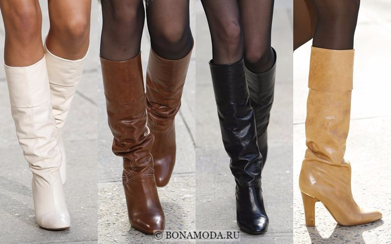 Модные женские сапоги осень-зима 2017-2018: классические кожаные на высоком каблуке