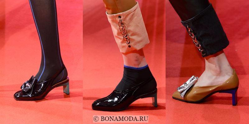 Модные женские туфли осень-зима 2017-2018: черные лаковые на низком каблуке