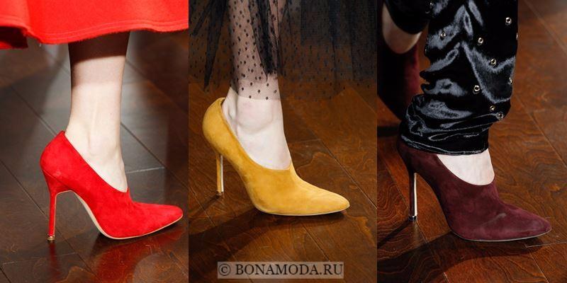 Модные женские туфли осень-зима 2017-2018: замшевые красные, желтые и бордовые