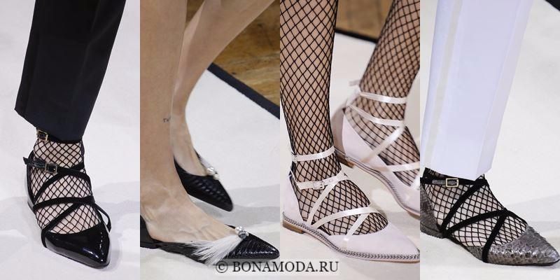 Модные женские туфли осень-зима 2017-2018: плоские балетные с ремешками