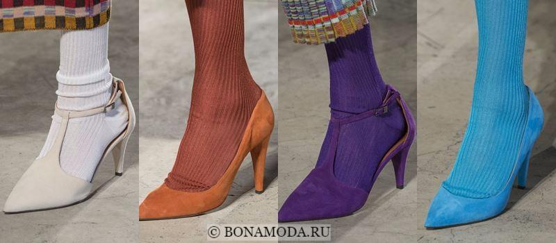Модные женские туфли осень-зима 2017-2018: замшевые цветные лодочки